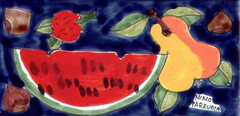 Piastrella in ceramica decoro Frutta Nino Parrucca Rettangolare - Cod. 57