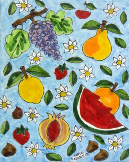 Piastrella in ceramica decoro frutta Nino Parrucca Rettangolare - Cod. 56