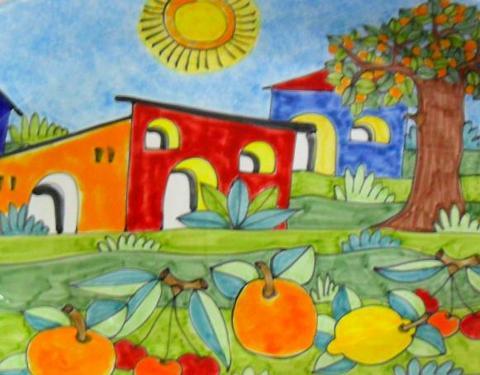 Piastrella in ceramica decoro casette e frutta Nino Parrucca Rettangolare - Cod. 31