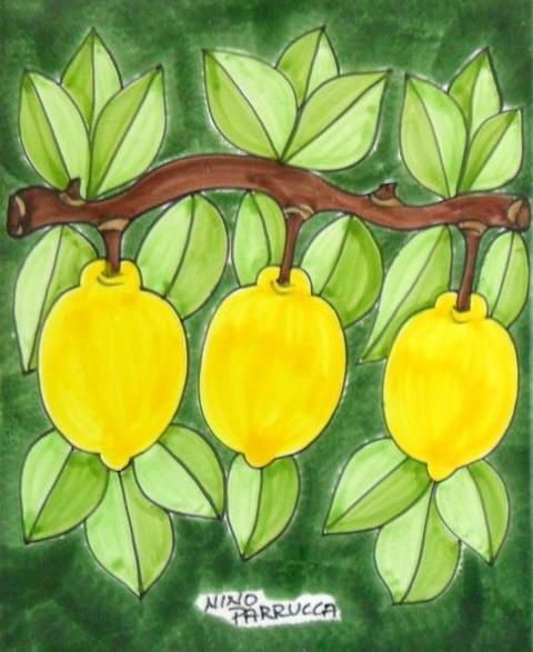 Piastrella in ceramica decoro ramo Limoni Nino Parrucca Rettangolare - Cod. 65