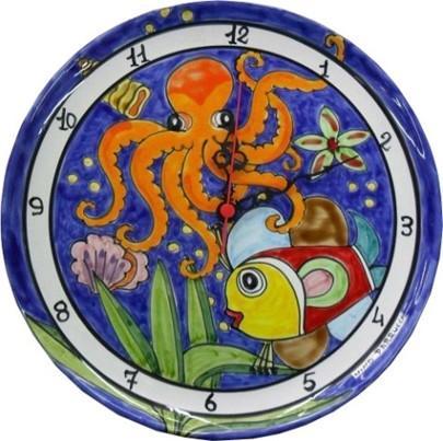 Orologio con Pesce e Polpo Nino parrucca su piatto