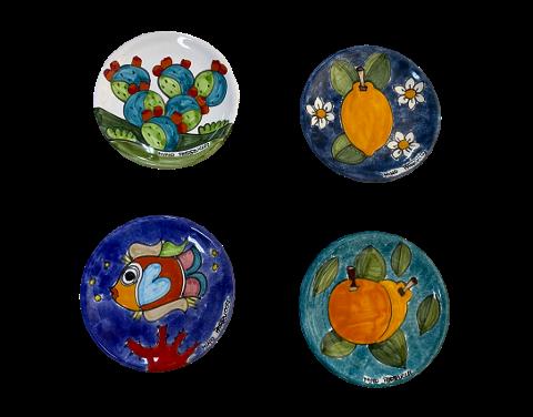Piattino in ceramica Nino Parrucca vari decori