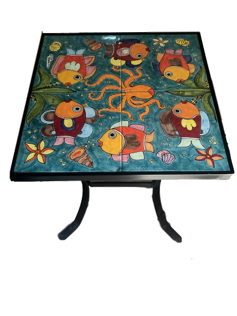 Tavolo quadrato Nino Parrucca in ferro e ceramica