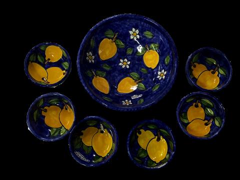 Servizio Macedonia 7pz Nino Parrucca Limoni Blu