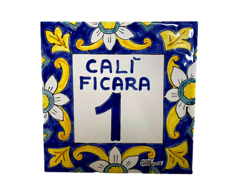 Piastrella cornice di fiori Nino Parrucca numero civico - cognomi