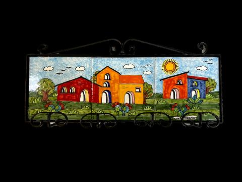 Appendiabiti paesaggio di casette Nino Parrucca in ferro e ceramica