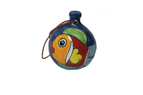 Pallina di Natale Nino Parrucca pesce fondo azzurro