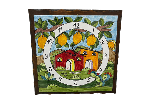 Piastra ad Orologio con base in legno Nino Parrucca  decoro casette con ramo limoni