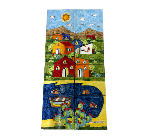 Pannello in ceramica da 8 piastrelle Nino Parrucca paesaggio di casette verticale con mare