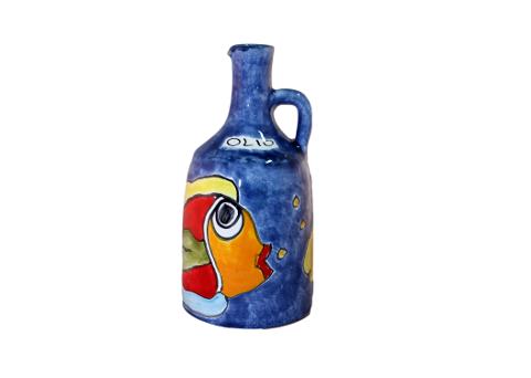 Bottiglia 500ML con manico Nino Parrucca decoro Pesce
