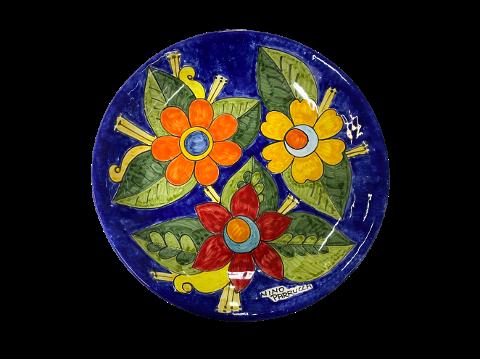 Piatto  Nino Parrucca decoro fiori grandi fondo blu