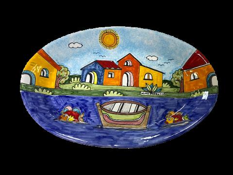 Piatto Ovale Grande 47x30 cm Nino Parrucca decoro Paesaggio con mare