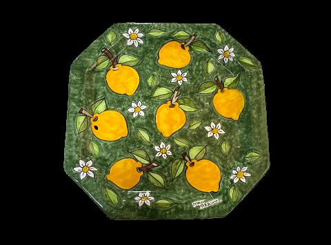 Piatto Ottagonale Limoni e Margherite Nino Parrucca tre misure