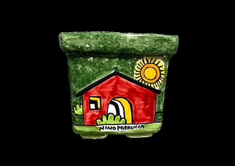 Cassetta Porta piante quadrata Nino Parrucca deocoro: paesaggio di casette fondo verde
