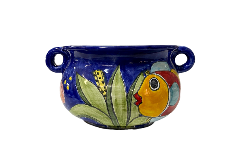 Porta vaso d.cm.22 H.cm.13 Nino Parrucca con manici