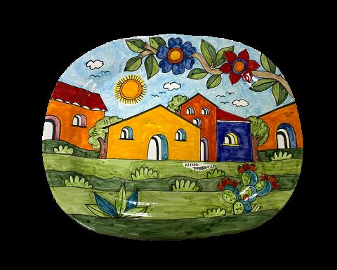 Piatto Rettangolare Nino Parrucca  decoro: paesaggio con ramo di fiori