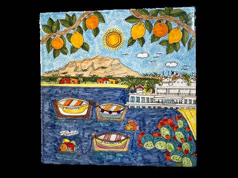 Piastrella in ceramica Nino Parrucca decoro Mondello