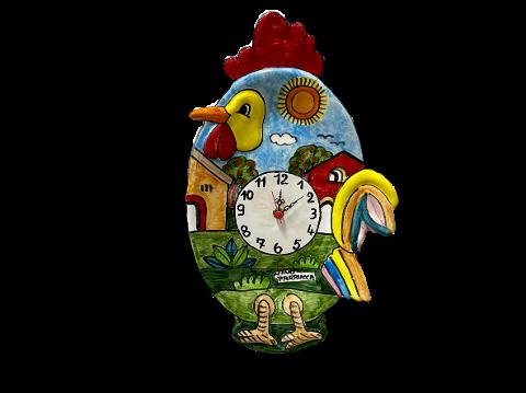Orologio a forma di Gallo Nino Parrucca Cm.22x35
