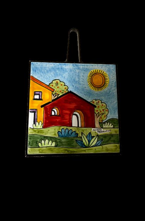 Sottopentola in ferro e ceramica Nino Parrucca Paesaggio di casette