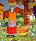 Piastrella in ceramica decoro Raccolta arance Nino Parrucca Rettangolare - Cod. 12