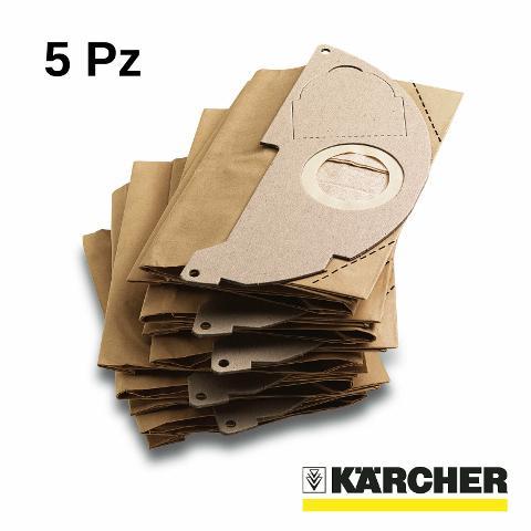 FILTRO KARCHER IN CARTA COD. 6.904-322.0 CONFEZIONE DA 5 PEZZI PER ASPIRATORI WD 2 KARCHER   COD. 6.904-322.0
