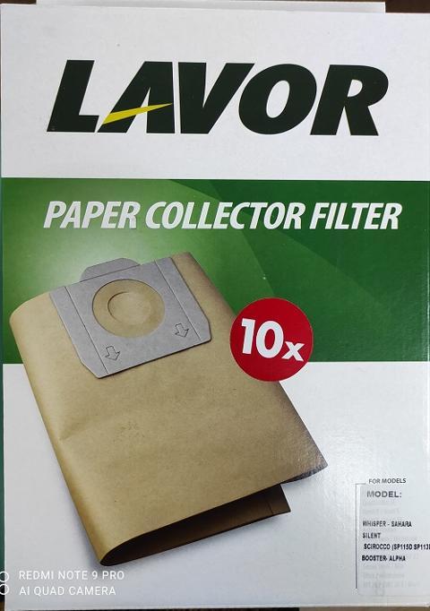 FILTRO LAVOR IN CARTA  5.212.0023 CONF. DA 10 - per aspirapolvere whisper sahara LAVOR  cod. 5.212.0023