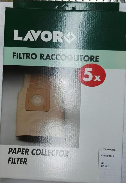 FILTRO LAVOR IN CARTA  5.212.0049 CONF. DA 5 -  PER ASPIRAPOLVERE TRENTA GNX GN LAVOR  cod. 5.212.0049
