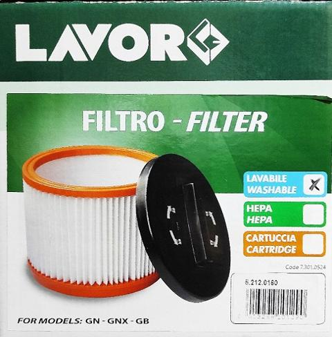 FILTRO LAVOR  A CARTUCCIA LAVABILE LAVOR  5.212.0160 PER GN GB  LAVORWASH    cod. 5.212.0160