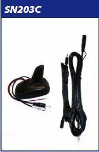 Antenna AMPLIFICATA a pinna AM_FM_TV +Cavo DIN Cm 450 MECATRON