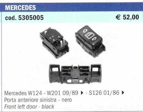 PULSANTE ANT.SX ME_ORIGINALE_MERCEDES 124/201 89>2 POLITECNICA 80