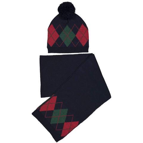 Sciarpa e cappellino a rombi Trybeyond Autunno/Inverno