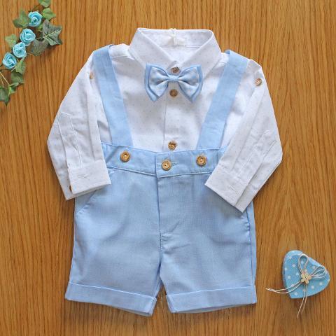 Salopette con camicia e papillon NinnaOh Primavera/Estate