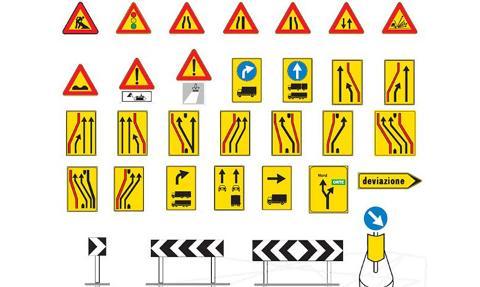 Segnali di pericolo per cantieri