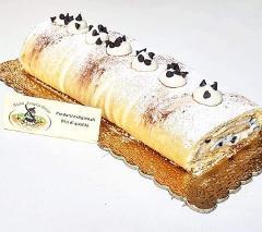 Tronchetto di pasta biscuit con Ricotta Biologica La Casetta Verde arricchito da gocce di cioccolato fondente bio (prezzo al Kg)