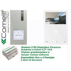 Kit Videocitofono Monofamiliare Quadra e MINI vivavoce SimpleBus Comelit