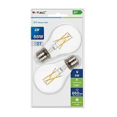 Lampada Goccia LED a Filamento E27 6w Luce Calda 600 Lumen Blister 2pz V-TAC