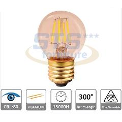 Lampada Sfera Ambra LED 4w E27 Luce 2200°K FSL
