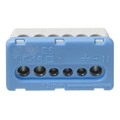 Morsettiera 6 Fori Blu per centralino Vimar