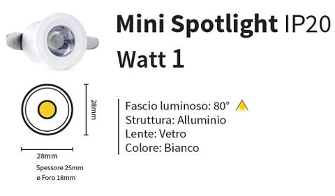 Mini Faretto Led Incasso 1w 12v Luce Natura 100 Lumen