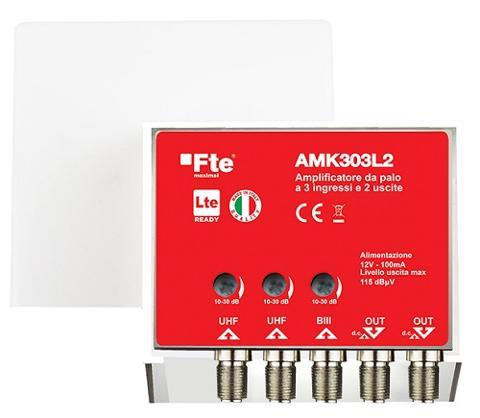 Amplificatore Antenna 30 dB BIII + 2 UHF 2 Uscite FTE Maximal