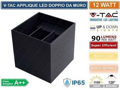 Applique LED 12w Luce Natura doppia emissione Regolabile IP65 Bianco V-TAC VT-759-12