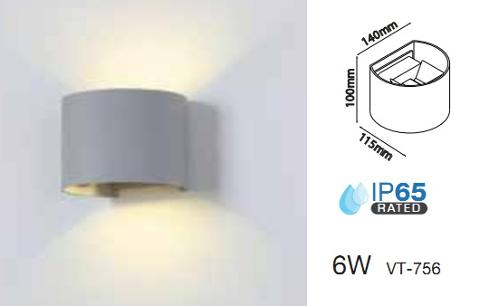 Applique LED 6w Luce Natura doppia emissione Regolabile IP65 Bianco V-TAC VT-756