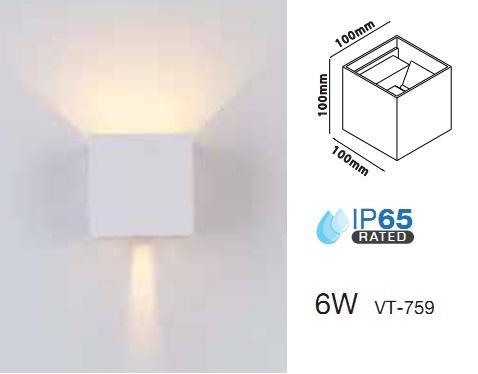 Applique LED 6w Luce Natura doppia emissione Regolabile IP65 Bianco