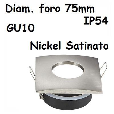 Faretto incasso Quadrato IP54 Nickel Satinato V-TAC