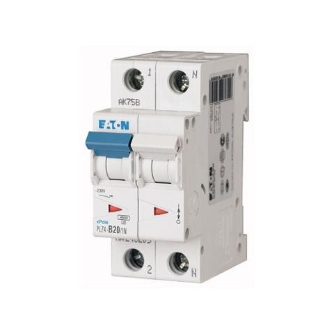 Interruttore Magnetotermico 2x20A C 4,5KA PLZ4-C20/1N-MW EATON 243231