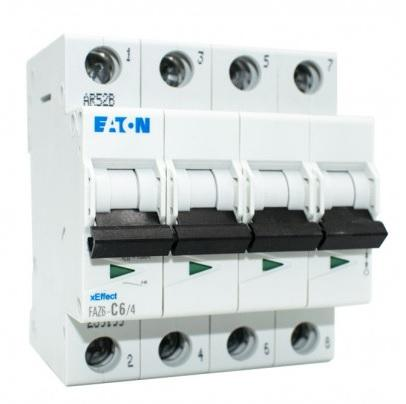 Interruttore Magnetotermico 4x10A C 6KA FAZ6-C10/4 EATON FAZ6-C10/4