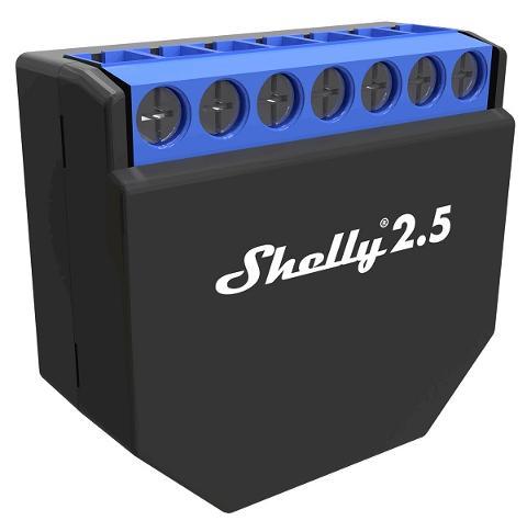 Interruttore Relè SMART WiFi 2 Canale con Misuratore Consumi e Comando Tapparelle Shelly SHELLY 2.5