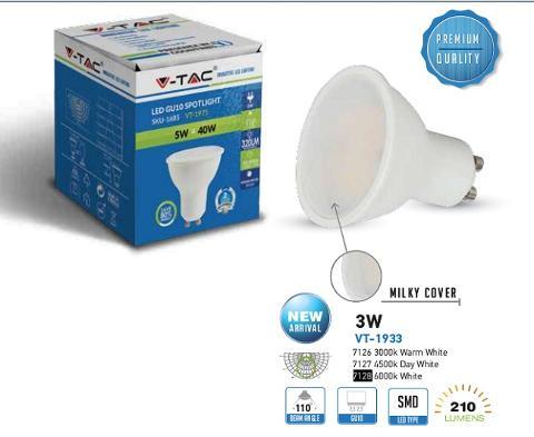 Lampada Led 3W GU10 110° Luce Calda 210 Lumen