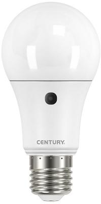 Lampada Led Goccia E27 10w Luce Natura con Sensore Crepuscolare Century Sensor