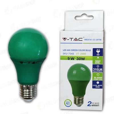 Lampada Led Goccia E27 9w Luce Verde
